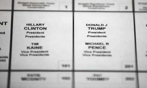 A photo of the 2016 U.S. Presidential Election ballot.